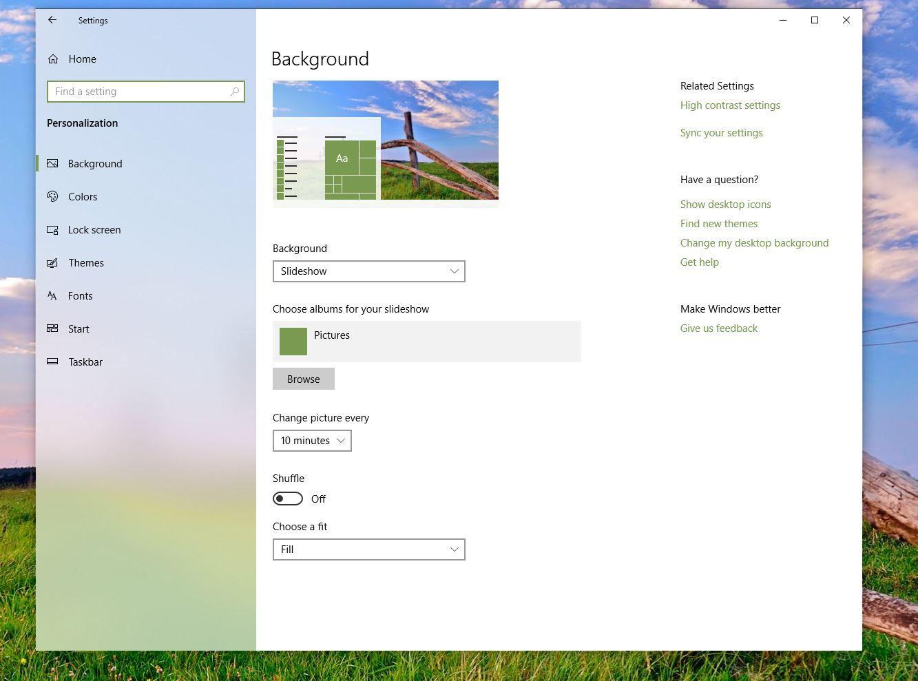 Theme Background options