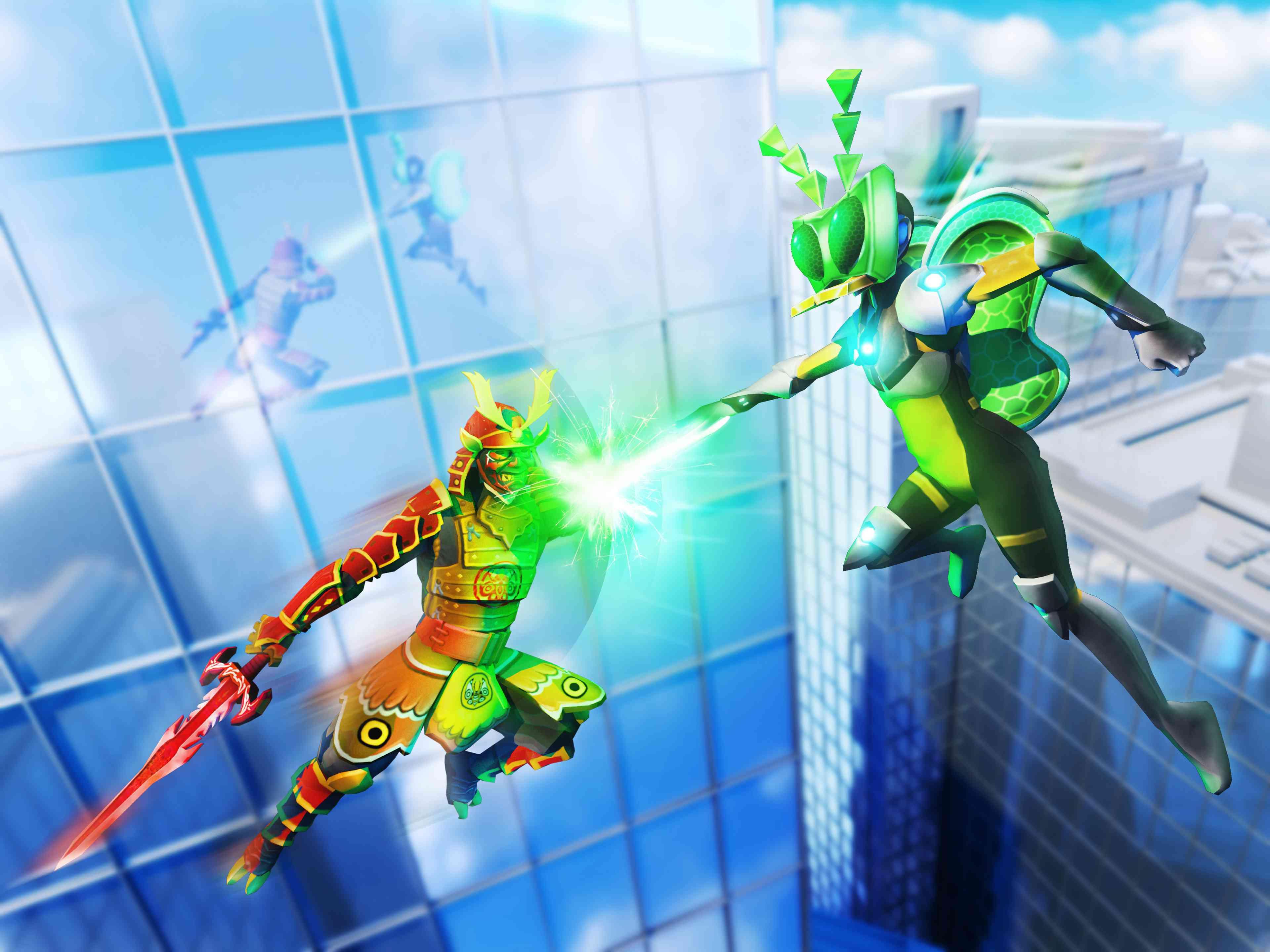 Roblox screenshot of two superheroes battling in the sky