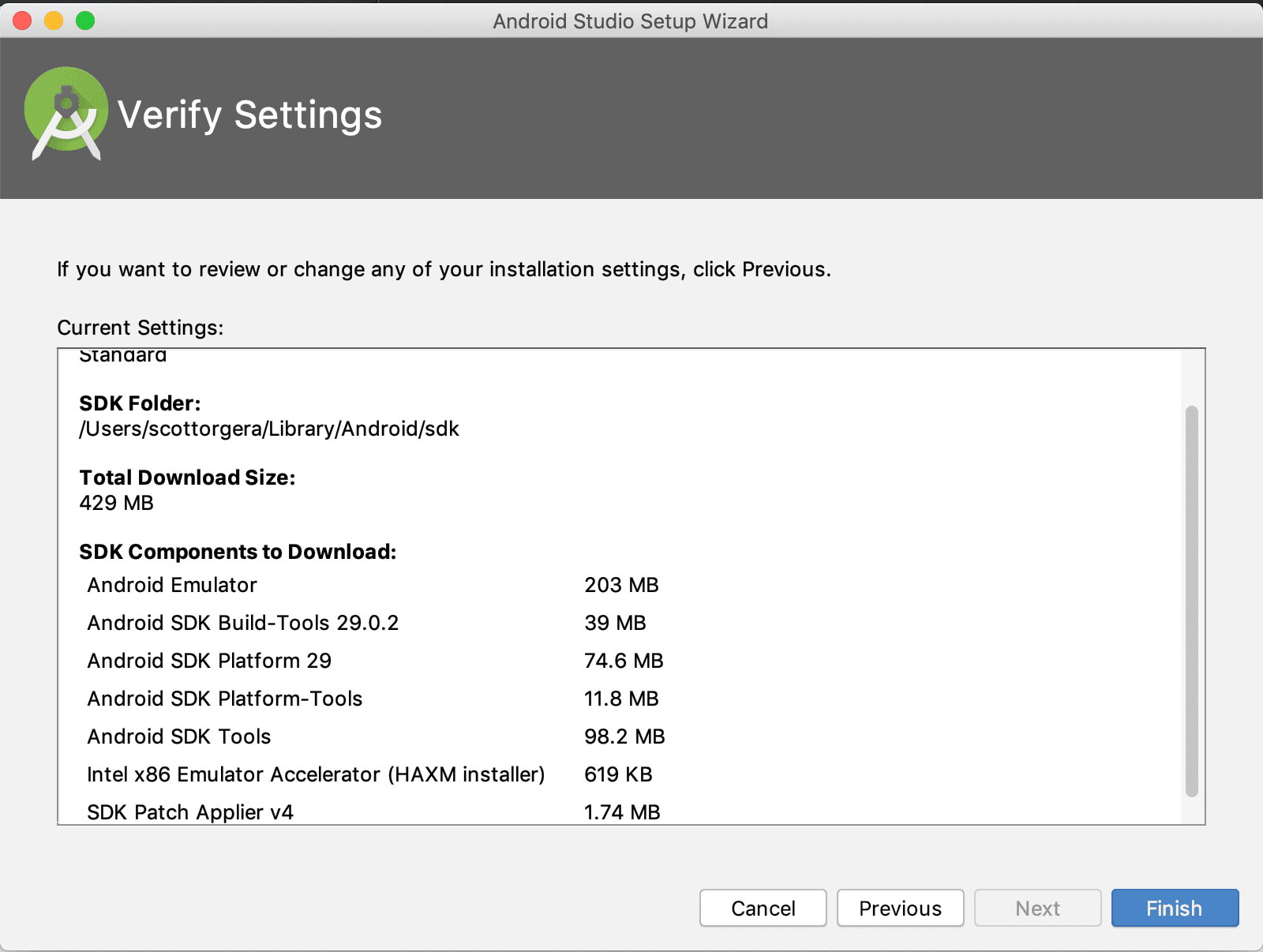 screenshot of Android Studio Verify Settings screen