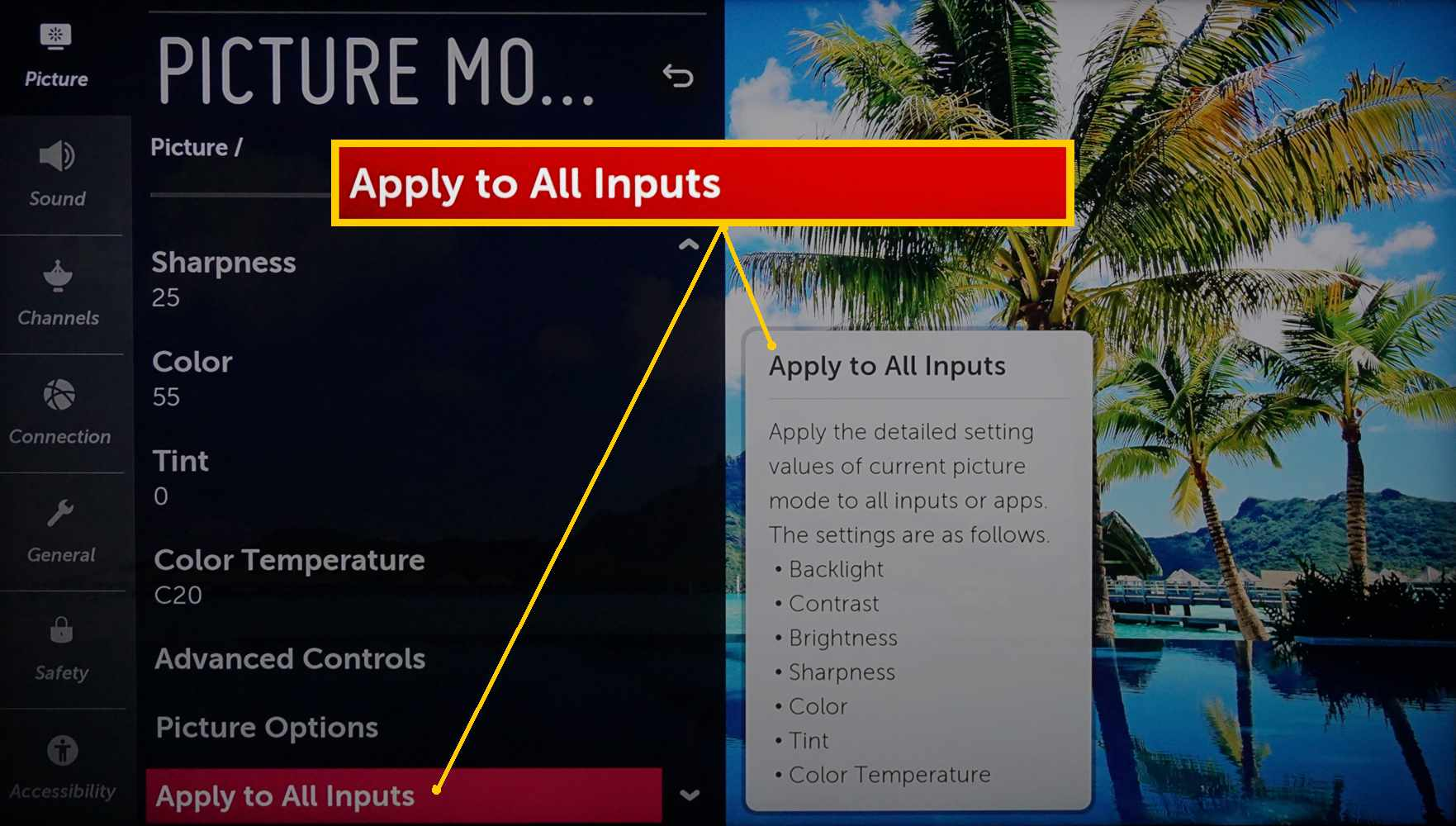 LG 4K Ultra HD TV – Apply Picture Settings to All Inputs