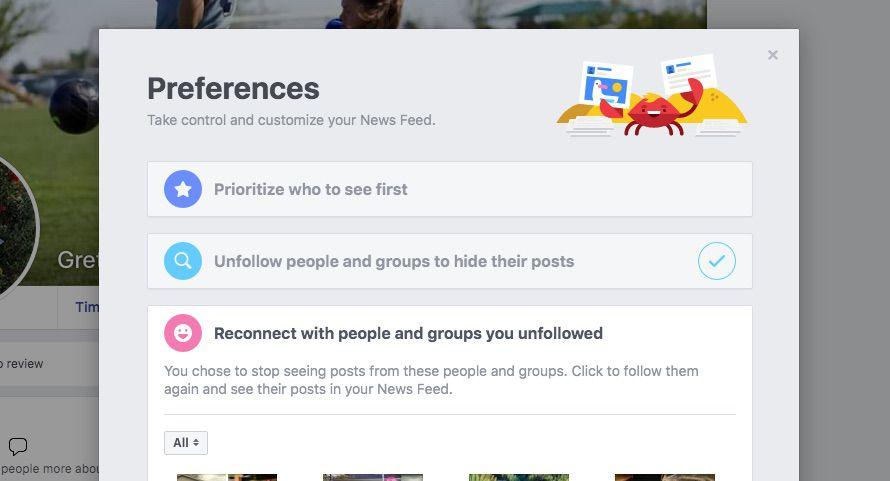 re-following an unfollowed person on Facebook