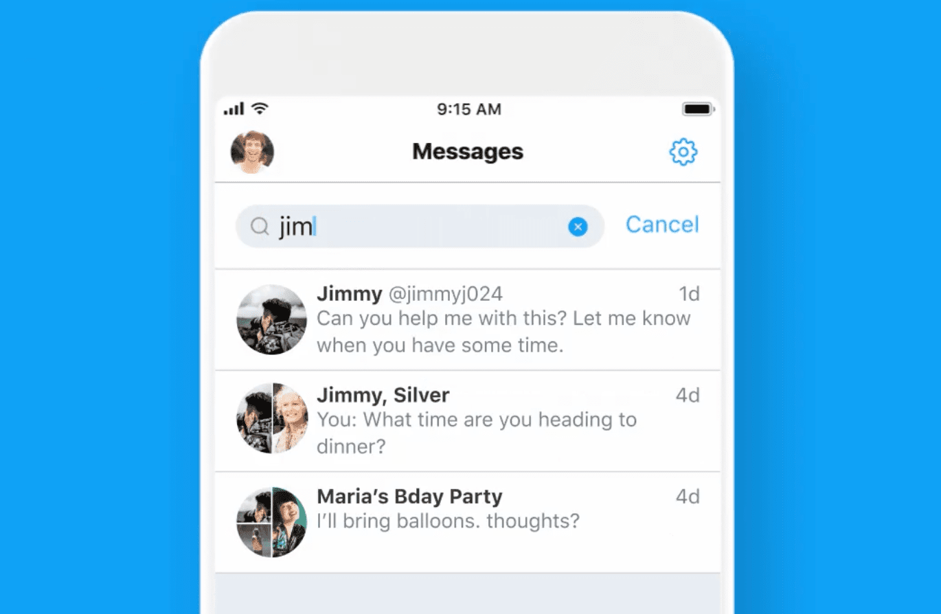 Twitter DM search feature on smartphone