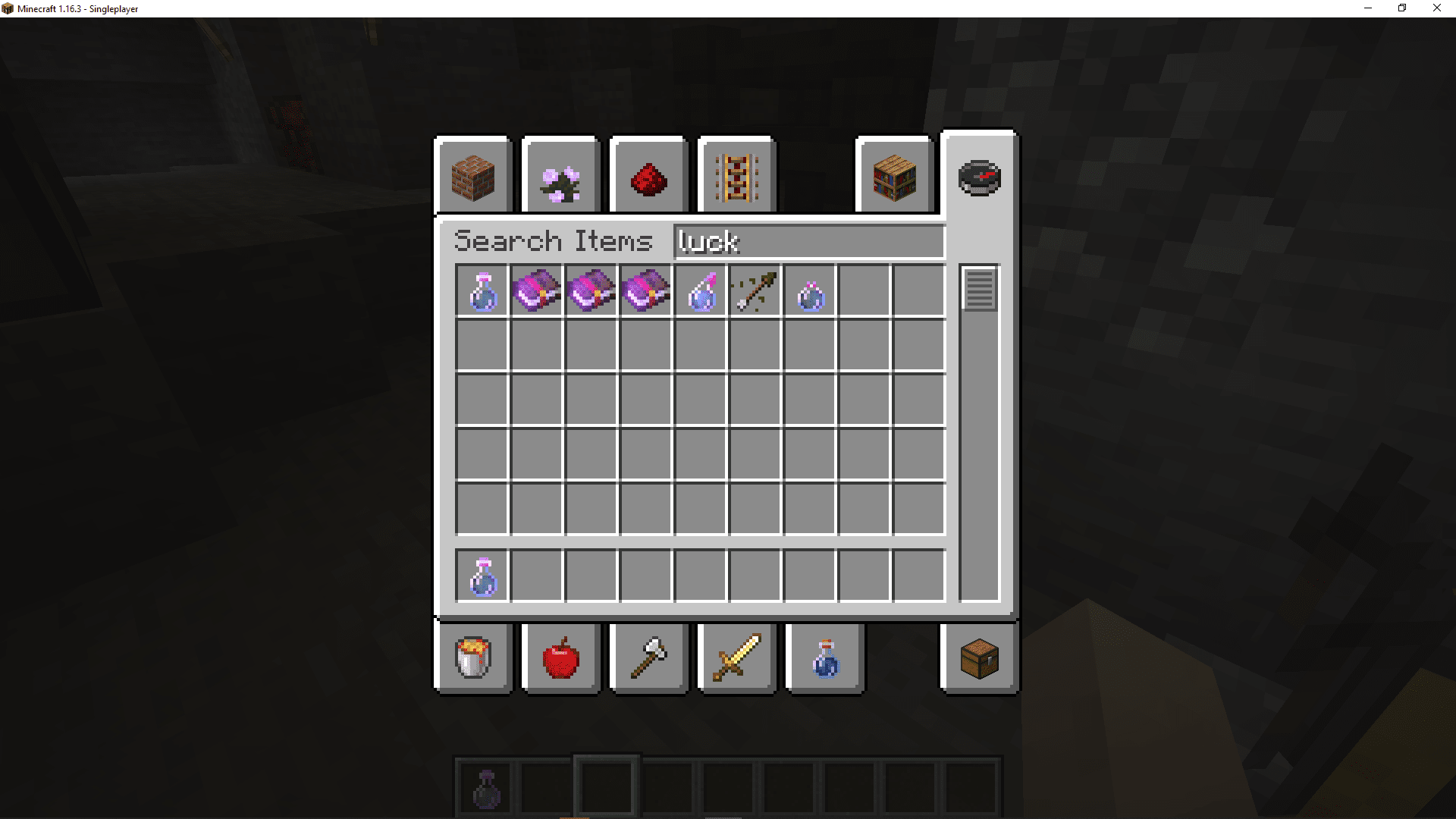 A search result for luck potion in Minecraft.