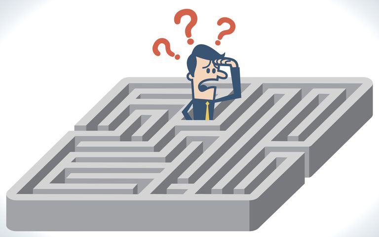 Illustration of a man lost in a labyrinth