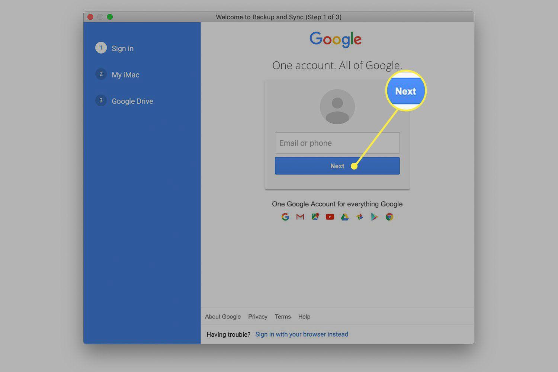 Google log in screen