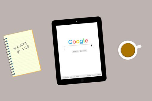 An image graphic of a tablet showing the Google home page.