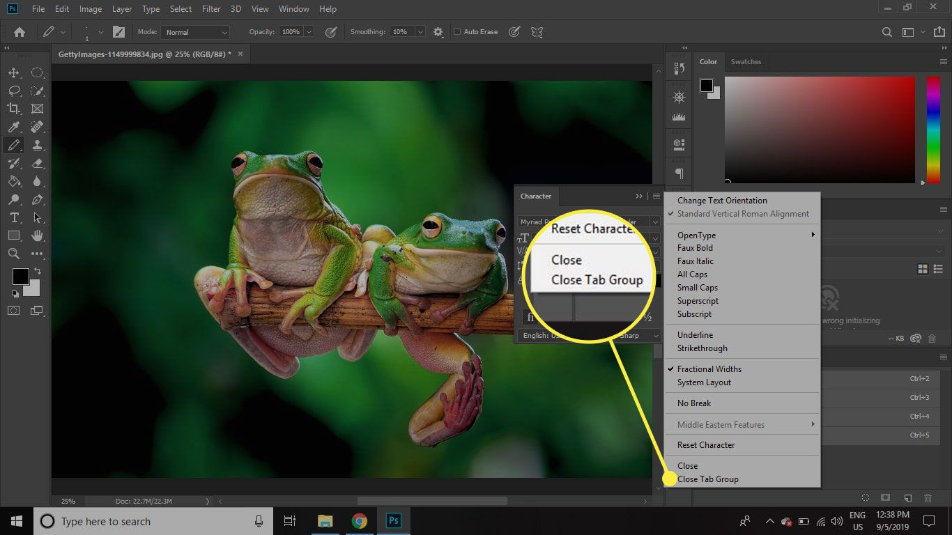 A screenshot of Photoshop with the Close Tab Group command highlighted