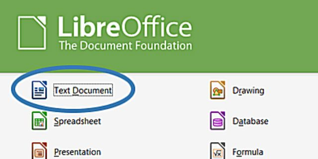 Screenshot of the LibreOffice opening screen.