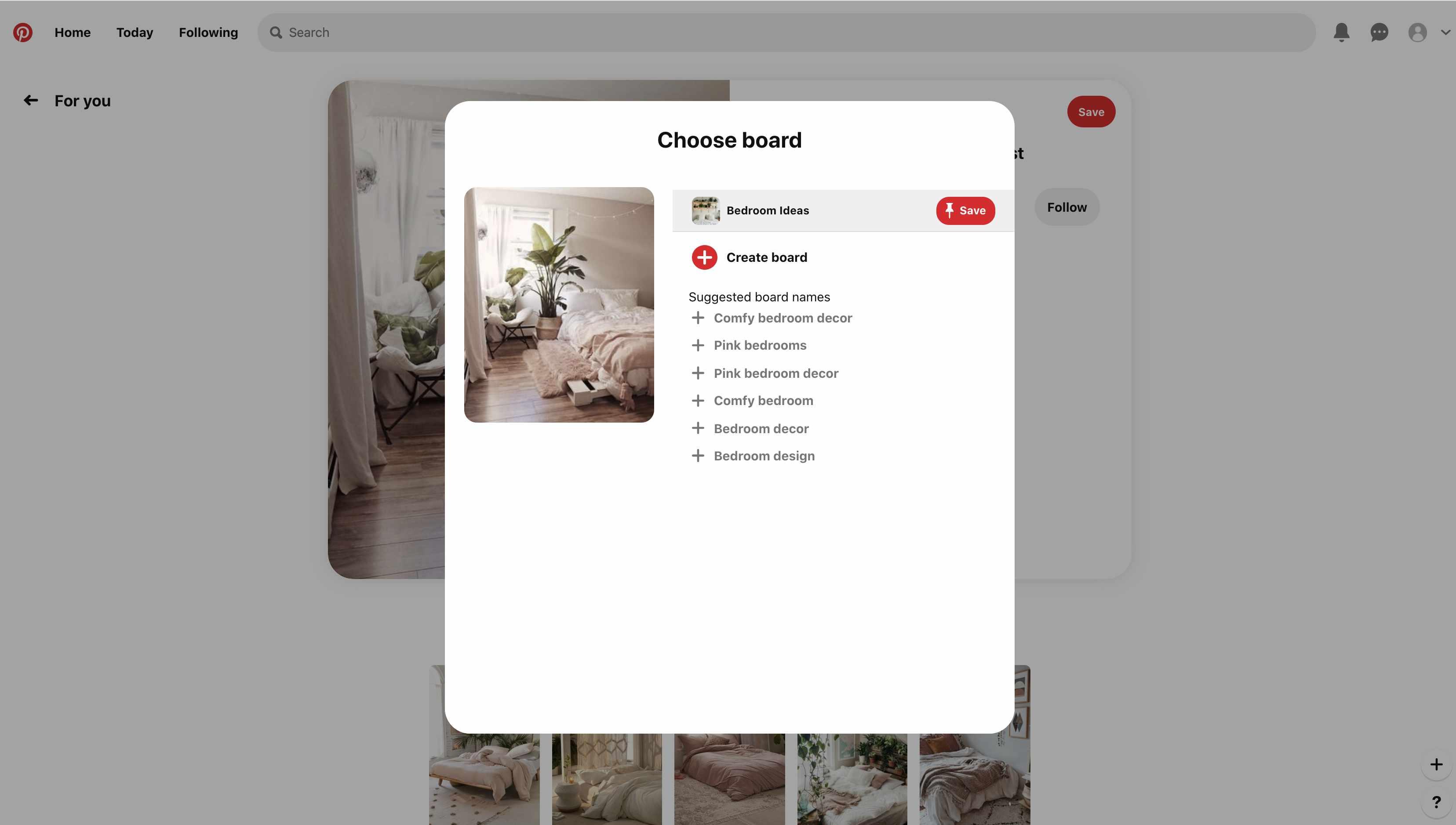 Choose a board or create a board in Pinterest