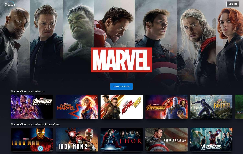 Disney+'s Marvel content homepage