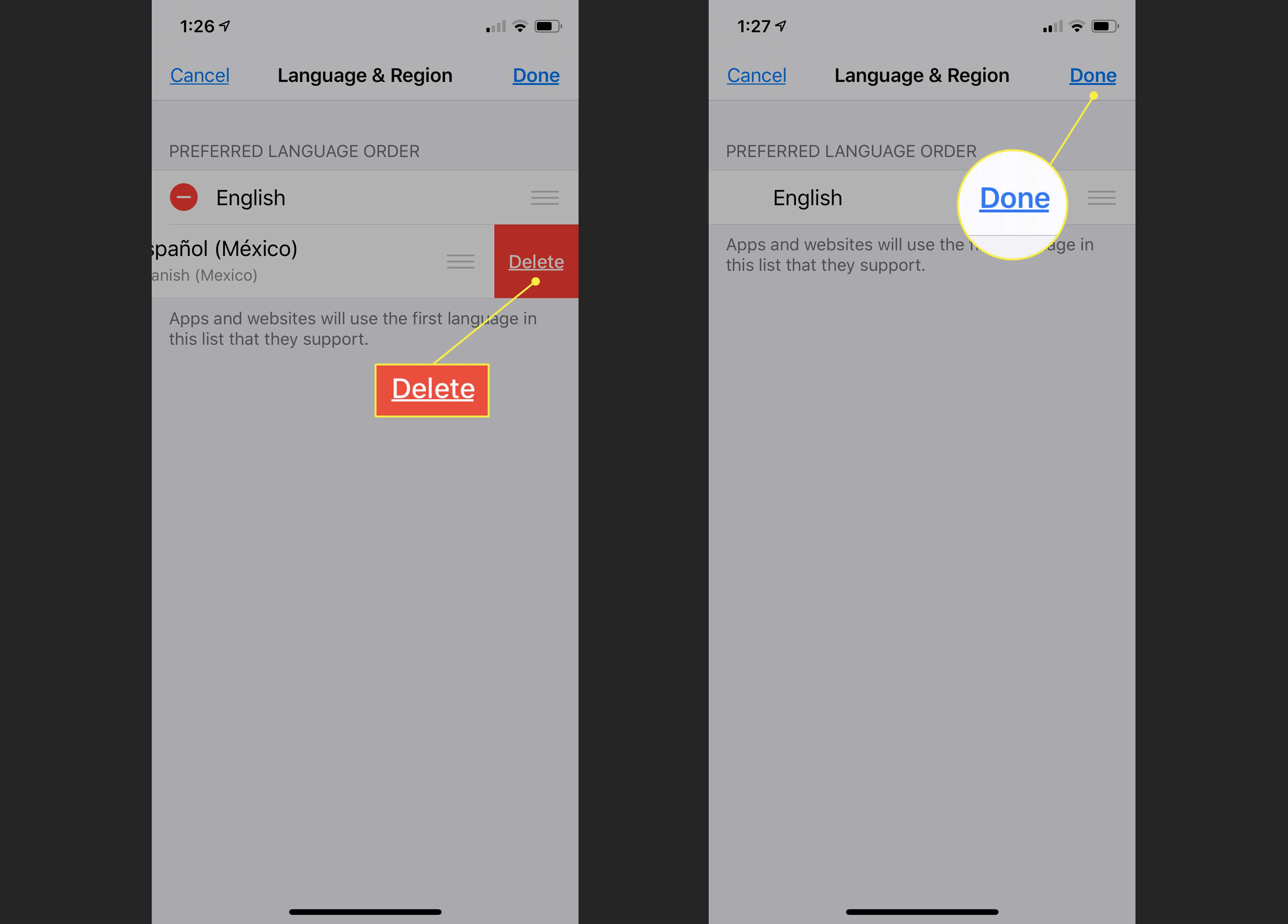 Deletion of languages in iOS Language & Region preferences