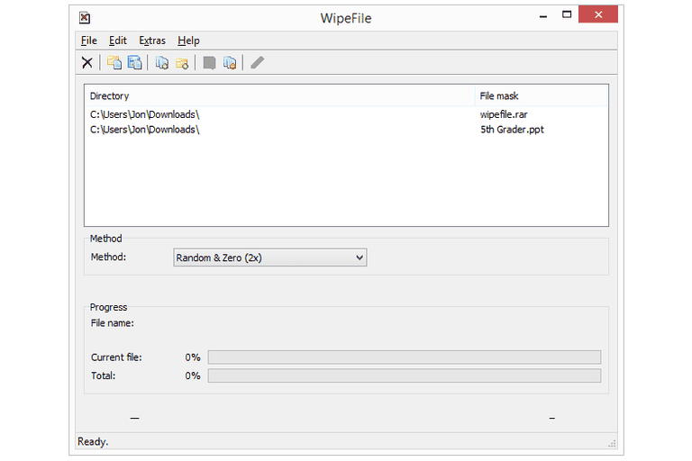 Screenshot of WipeFile v2.4.0.0 in Windows 8