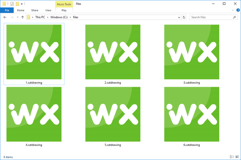 Screenshot of several CATDRAWING files in Windows 10 that open with WorkXplore