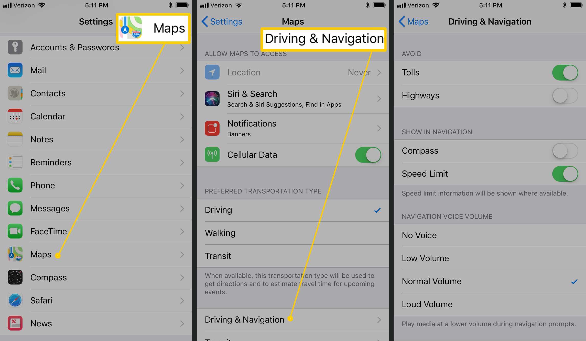 Apple Maps settings.