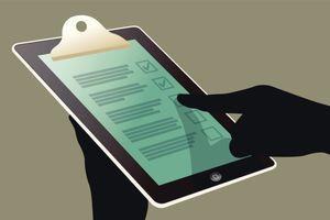 Illustration of hand using checklist on digital tablet