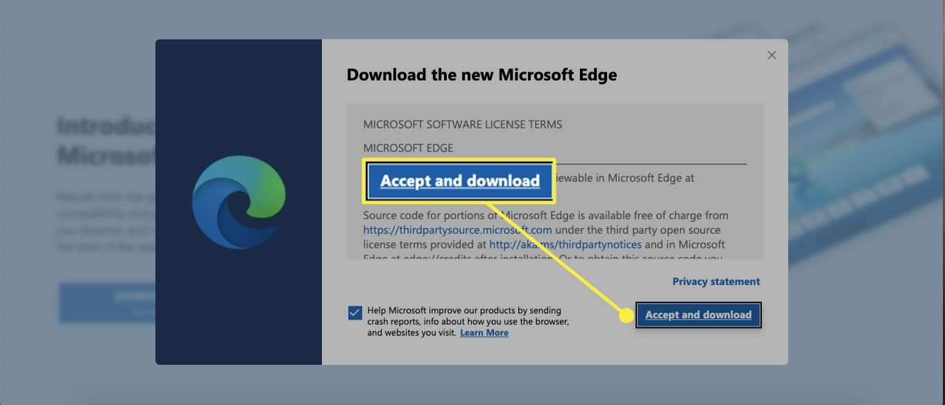 The Edge download screen with the Accept and download button highlighted