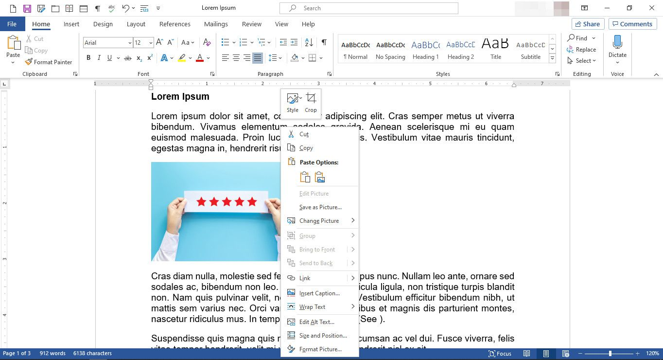 MS Word document with image editing menu displayed