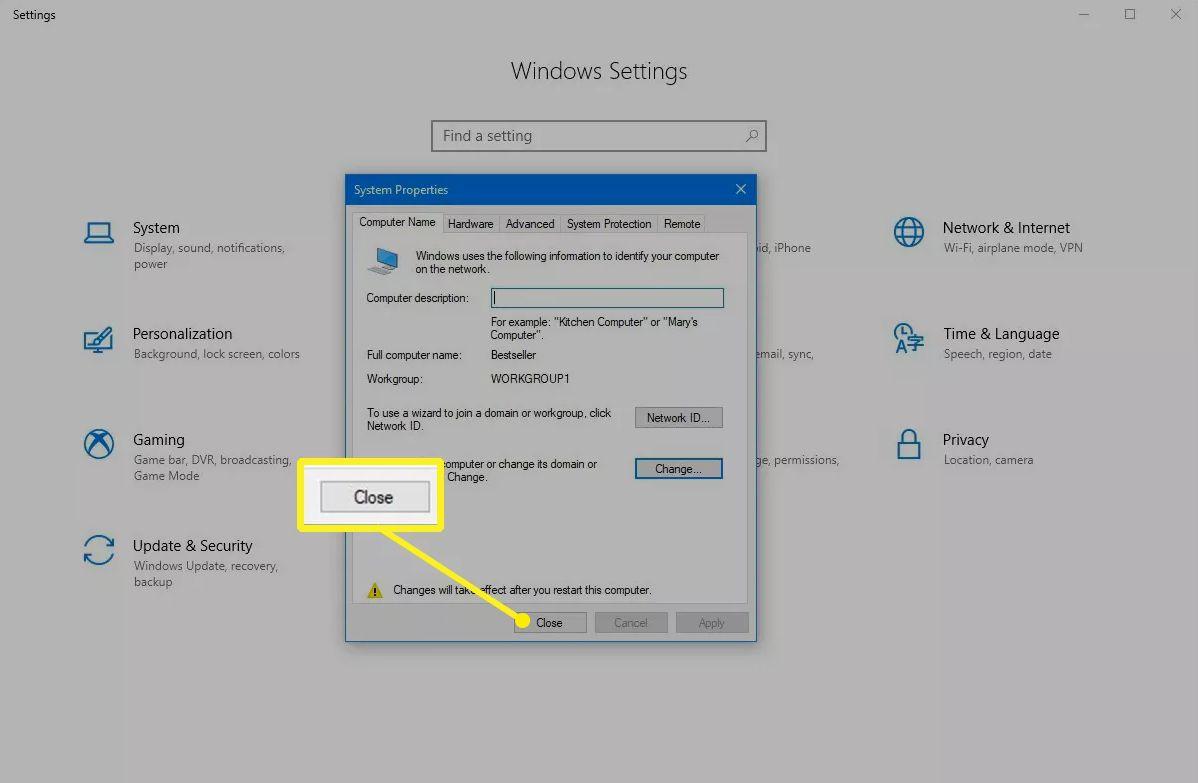Close button in Windows 10 settings