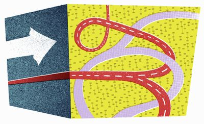 An illustration with arrows and roads