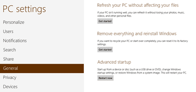 Refresh or Reset Windows 8