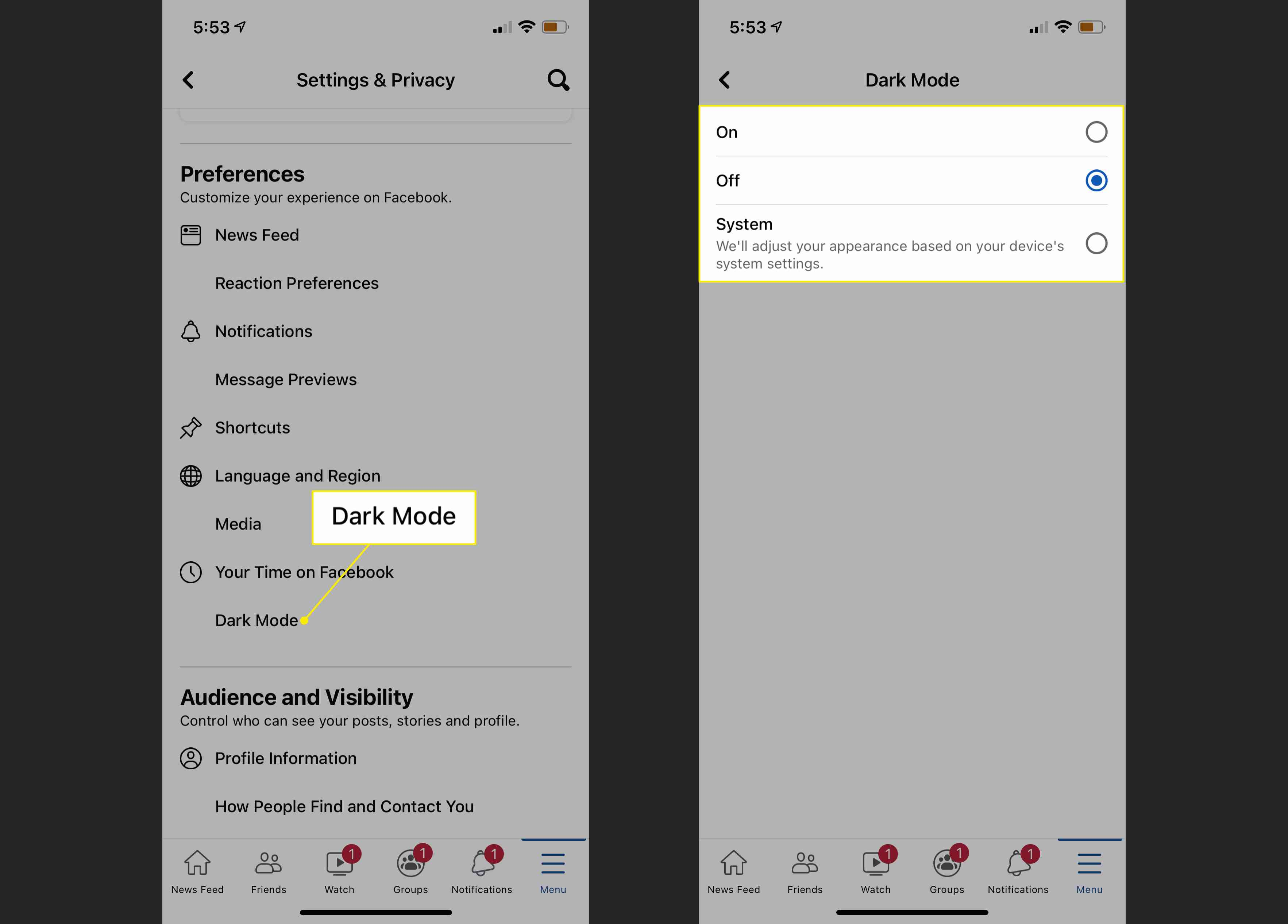 The Dark Mode heading and options in Facebook settings