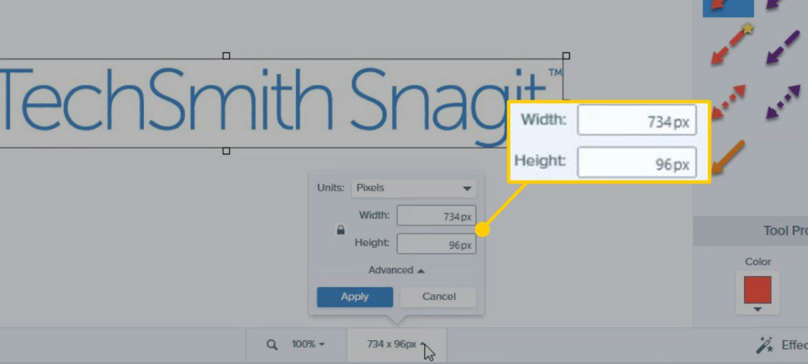 Width and Height settings