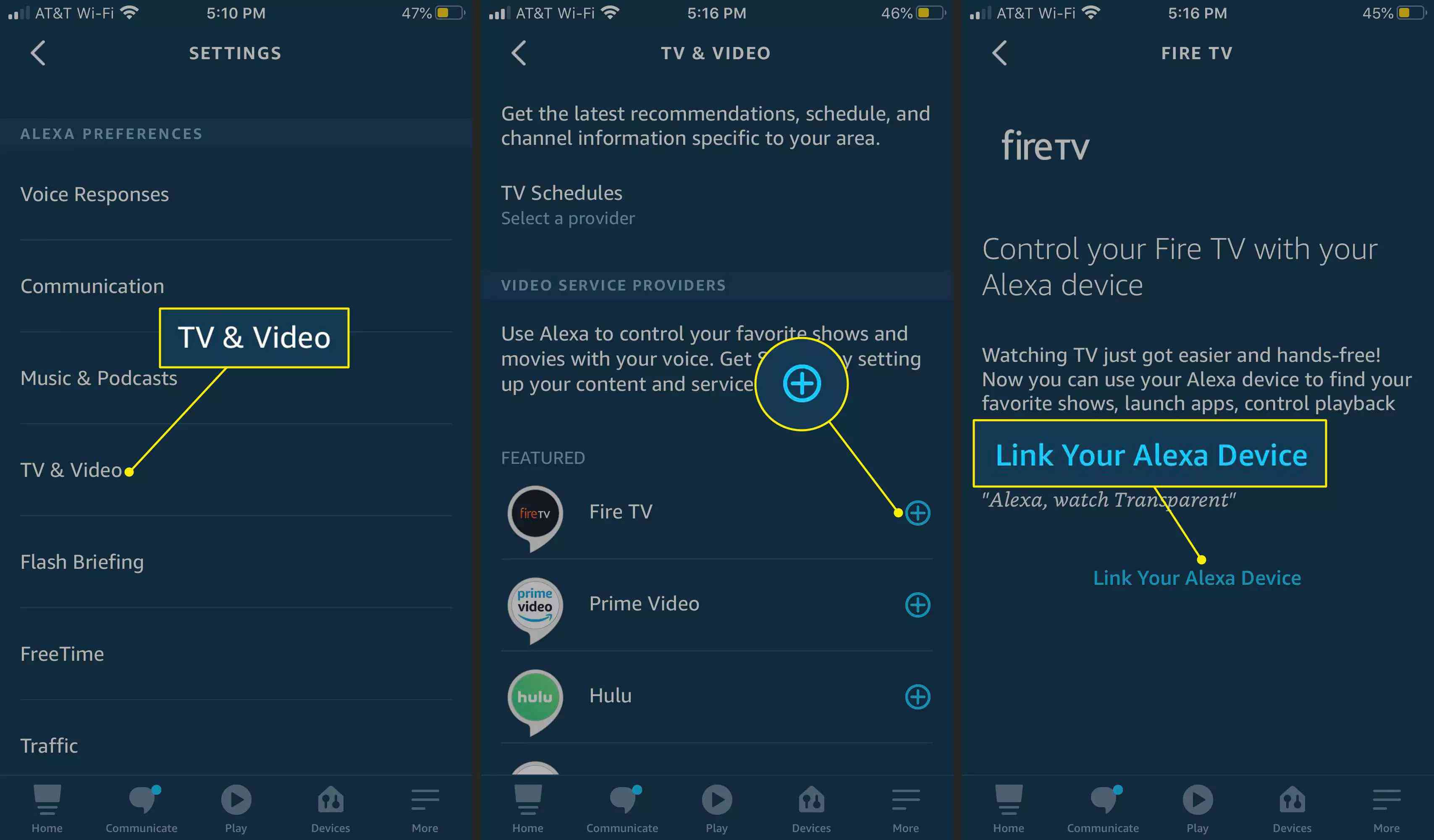 TV & Video, Plus, and Link Your Alexa Device highlighted in the Alexa app