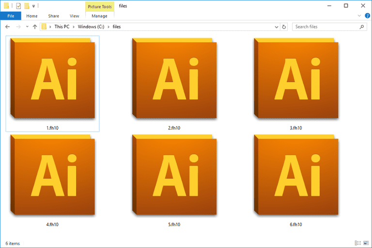 Screenshot of several FH10 files that open with Adobe Illustrator in Windows 10
