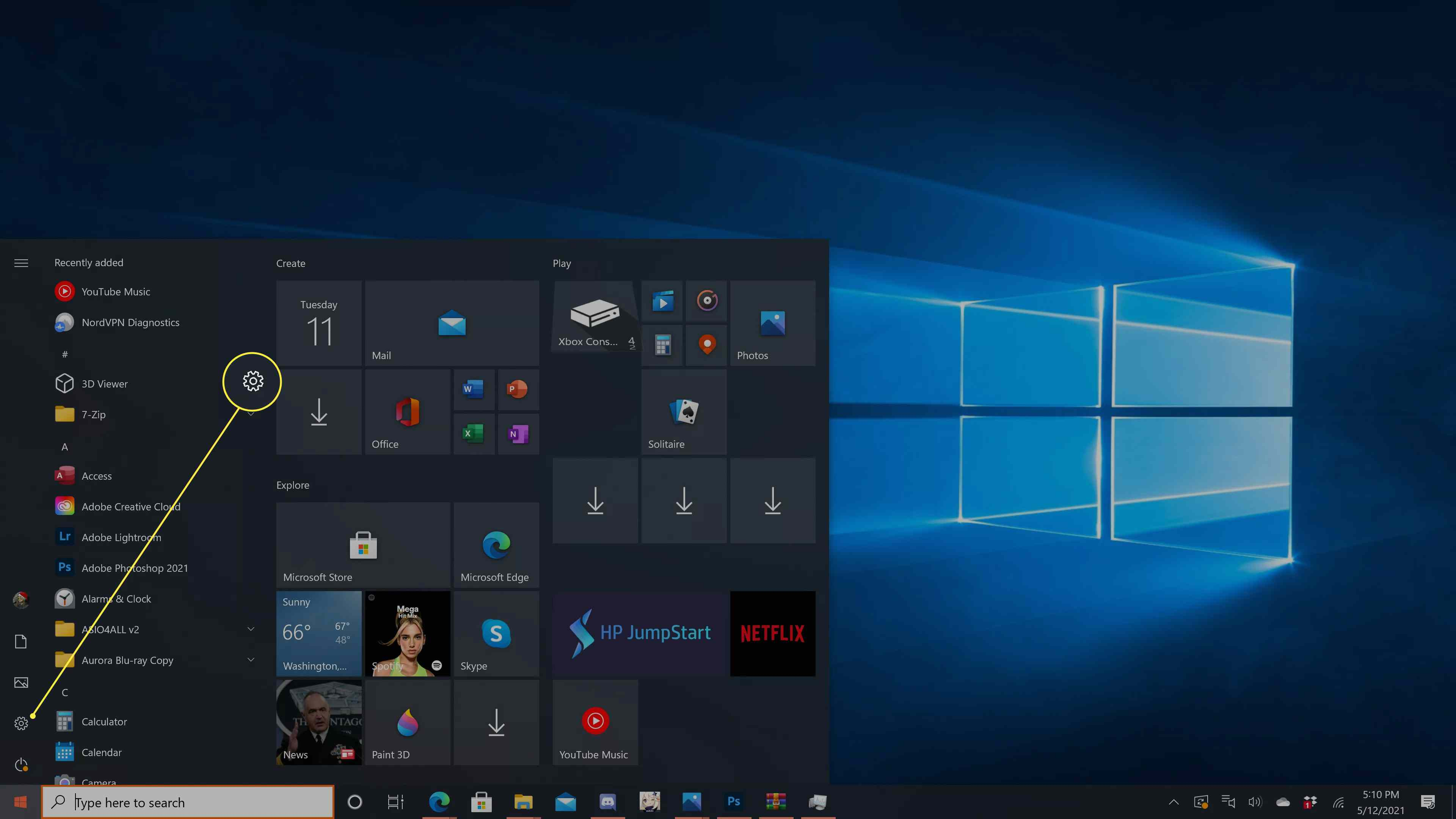 The gear icon highlighted in the Windows 10 start menu.
