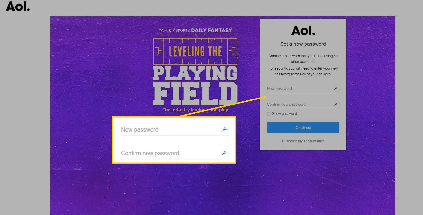 Password field on AOL