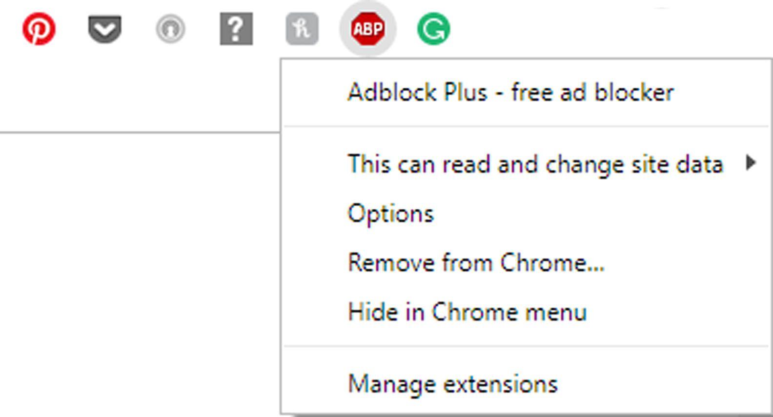Menu for Chrome extensions