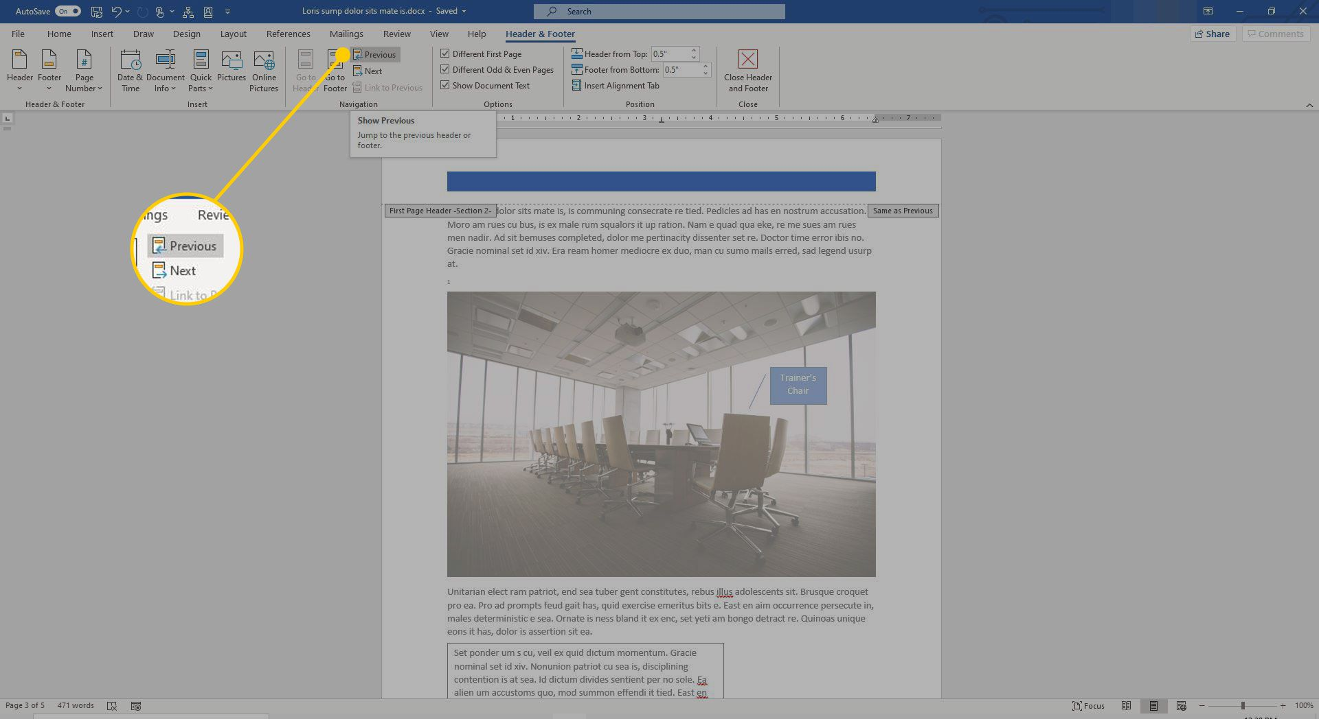 A Word document with the Previous button highlighted