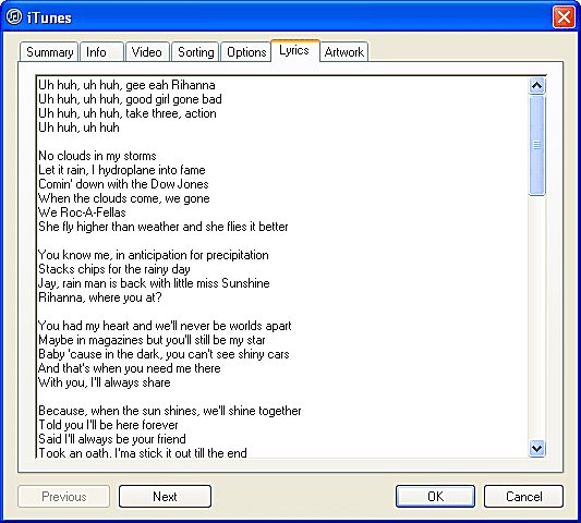 iTunes Song Lyrics Screen