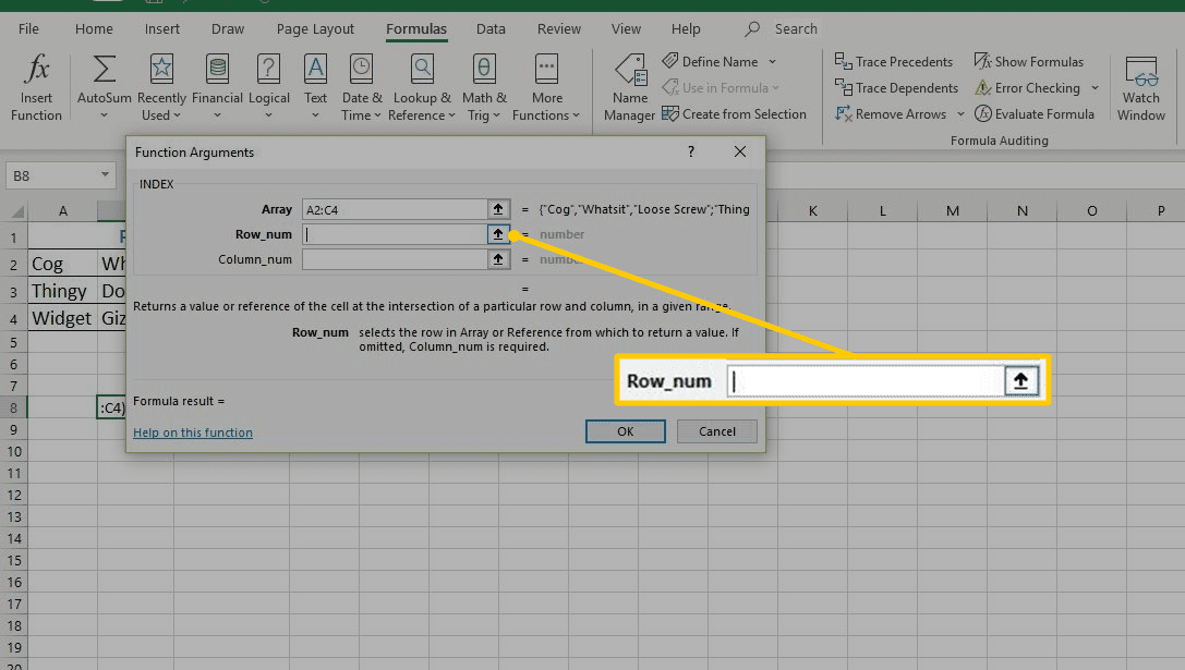 Find Data in a List With the INDEX Function