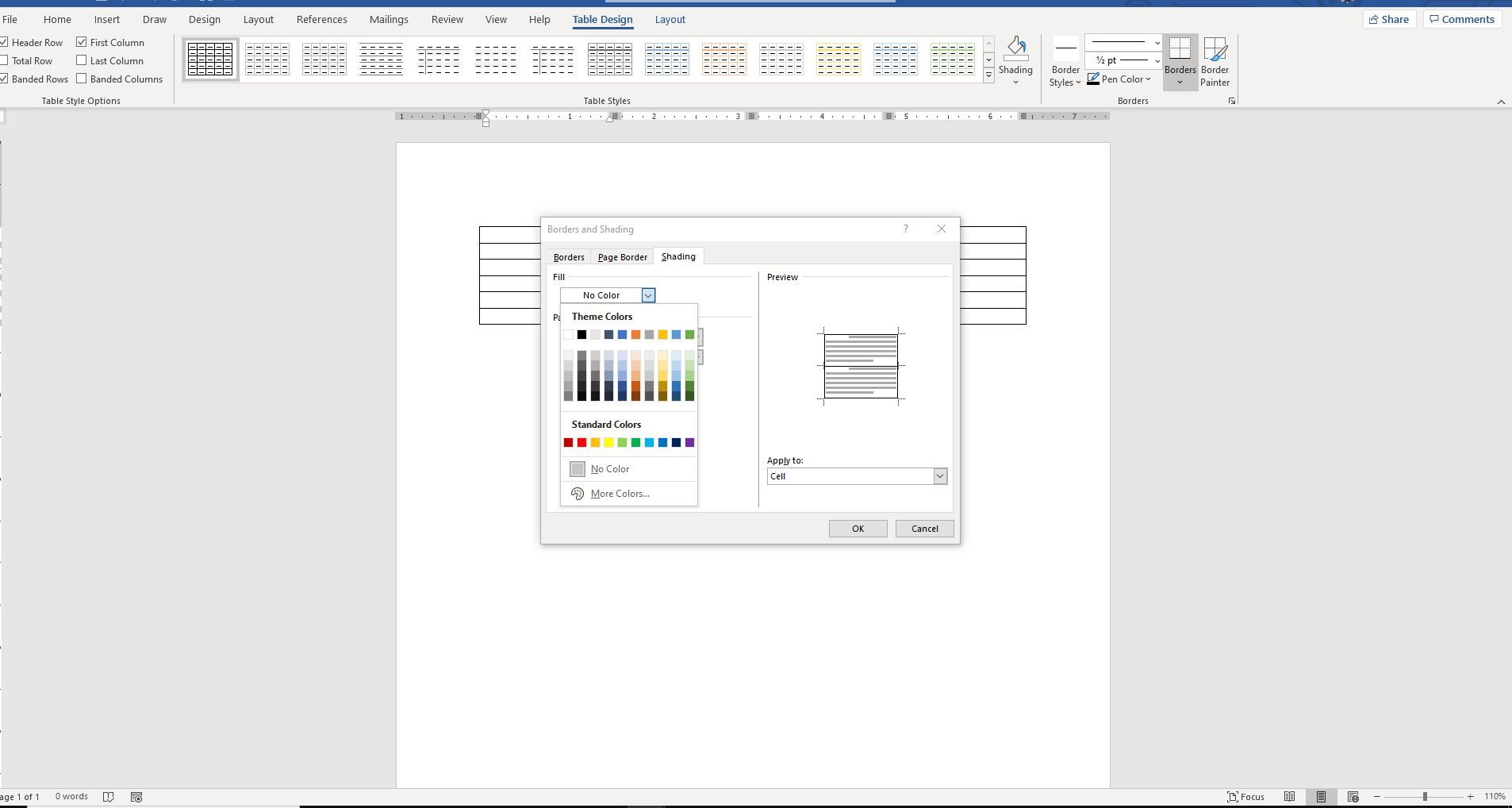 Screenshot of Fill menu on Borders and Shading