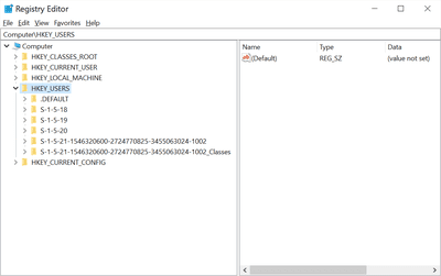 HKEY_USERS hive in the Windows Registry in Windows 10