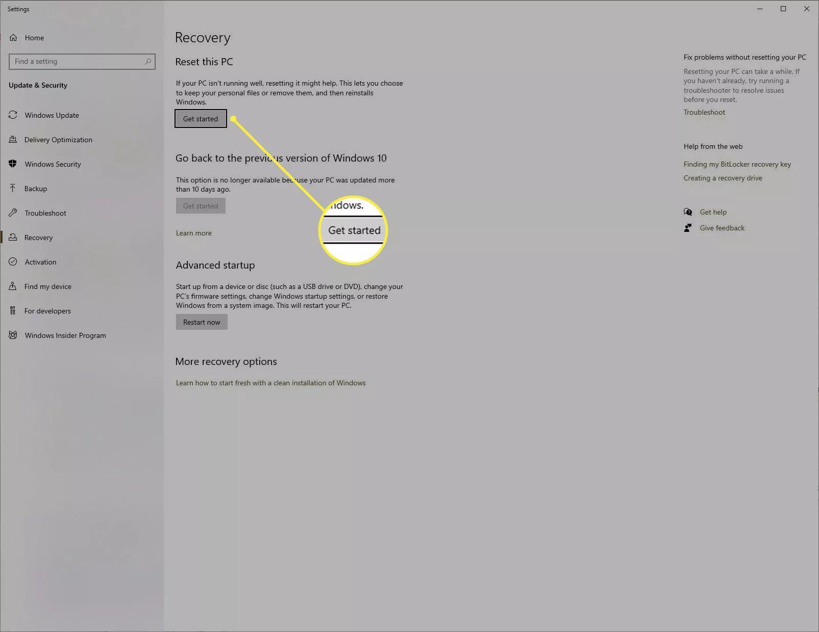 Windows 10 system reset