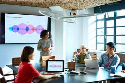 Businesswoman Heads Strategy Meeting in Board Room