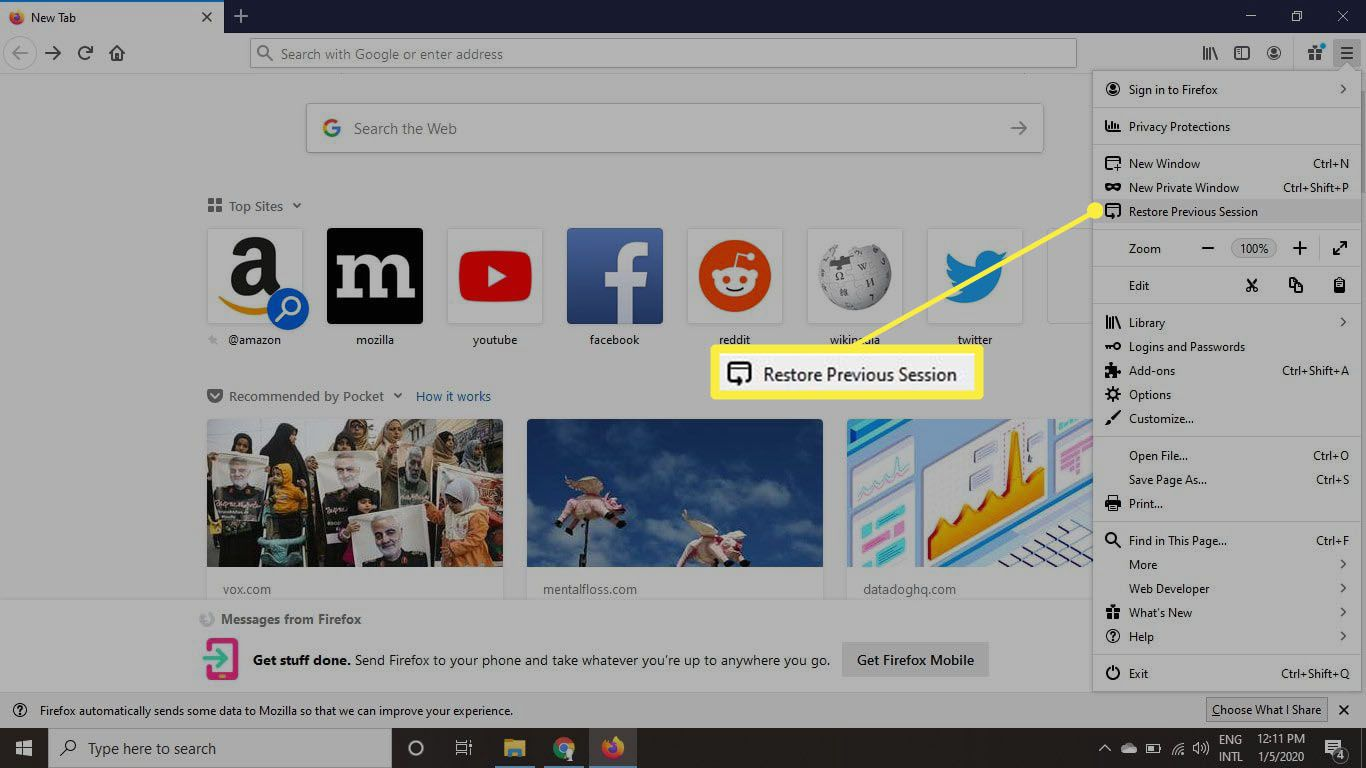 After you close and reopen Firefox to begin a new session, all of the tabs will be gone.