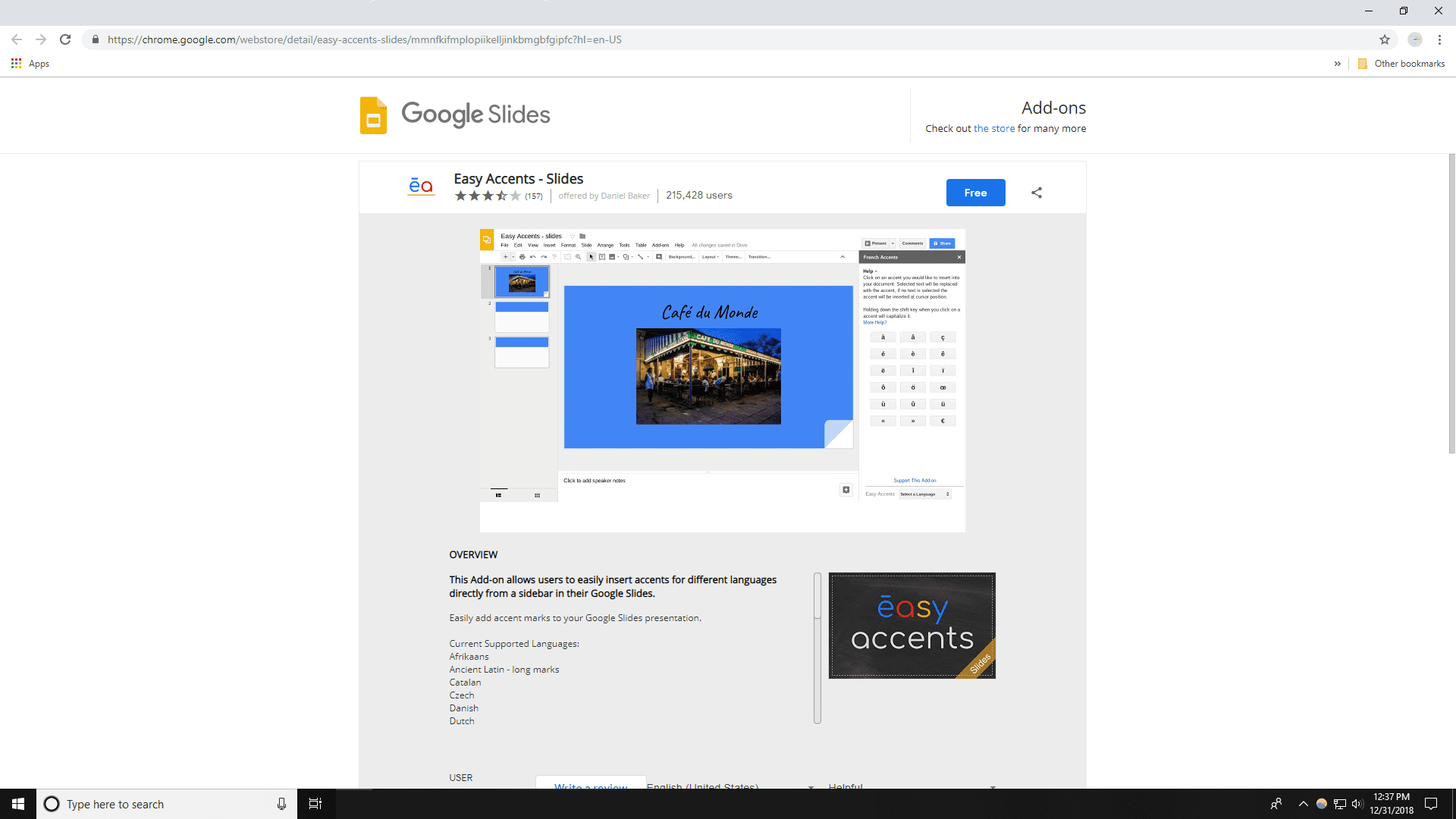 google slides add on easy accents