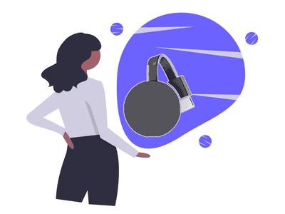 Chromecast on blue background