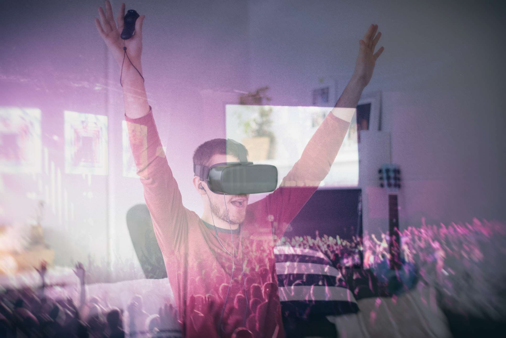 Someone watching a live concert in virtual reality.