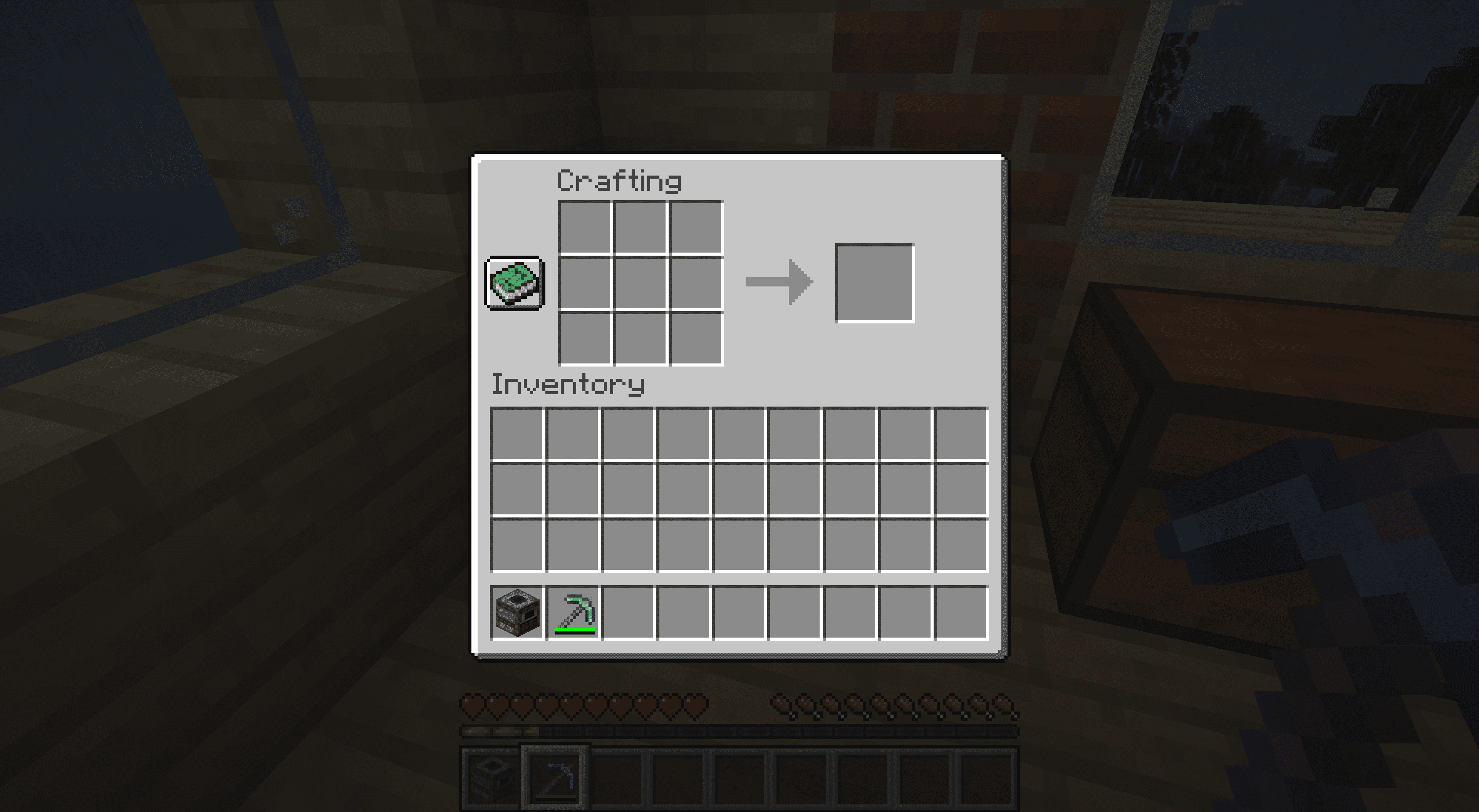 Moving a smoker to your inventory in Minecraft.