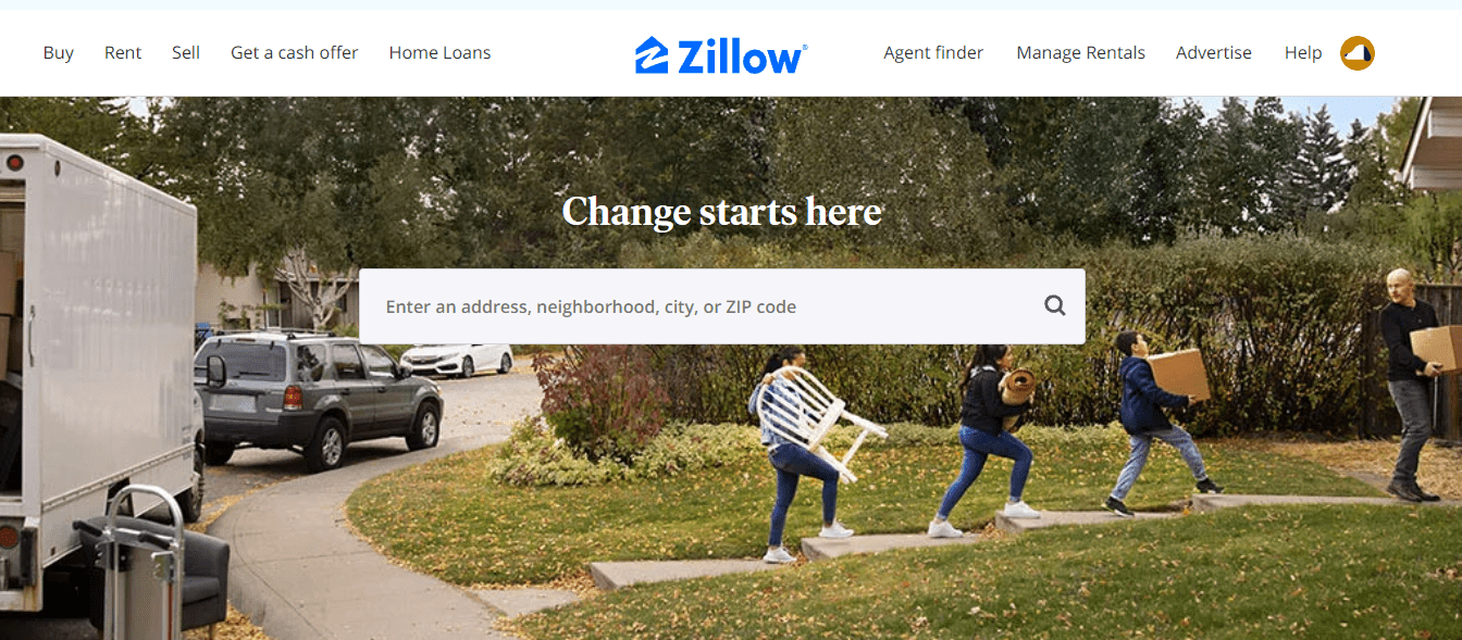 Zillow search bar