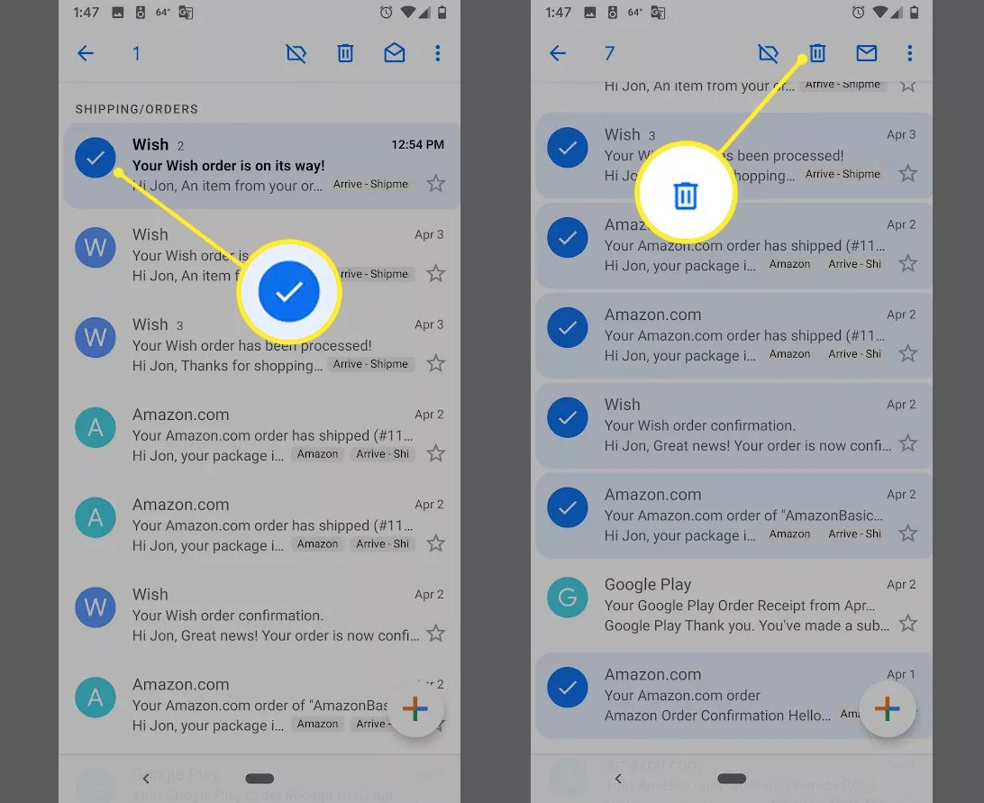 Checkbox for emails, Delete button in Gmail app on Android