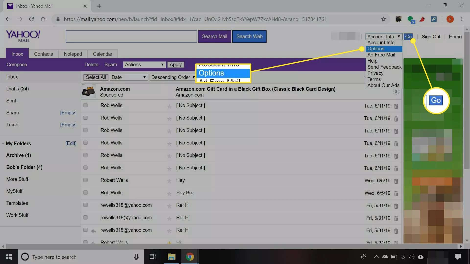A Yahoo Mail inbox with 'Options' and 'Go' highlighted