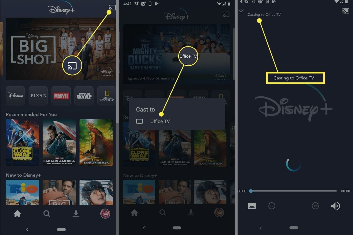 Steps to start casting Disney Plus to Chromecast.