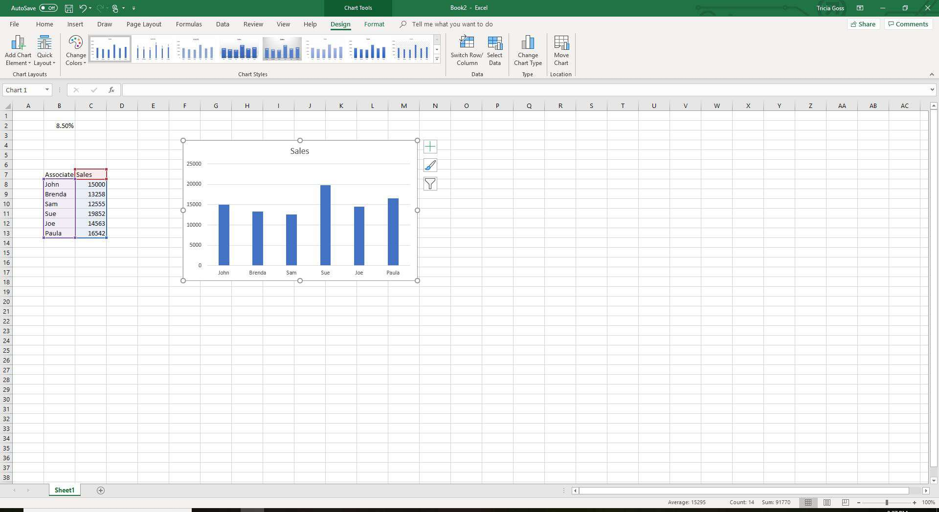 Screenshot of selected chart in Excel