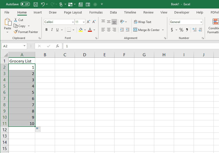 Autofilled list in Excel