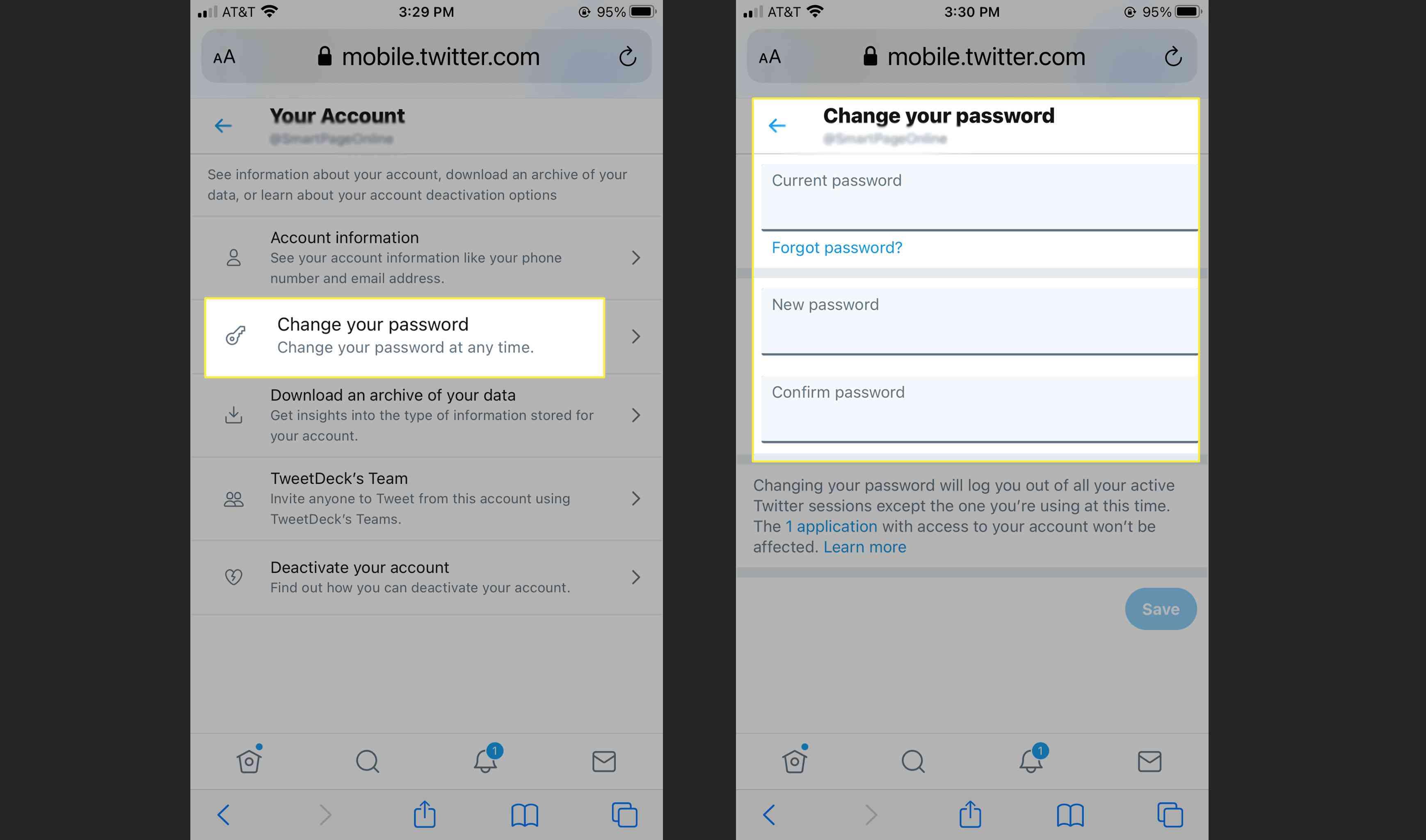 Twitter - change password on mobile website